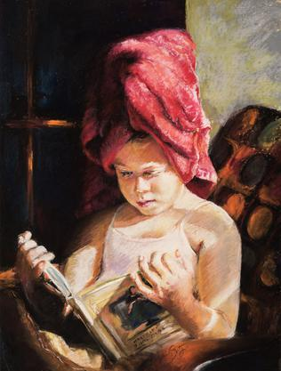 "judith spitz ""After the Bath""  Pastel on sanded paper"